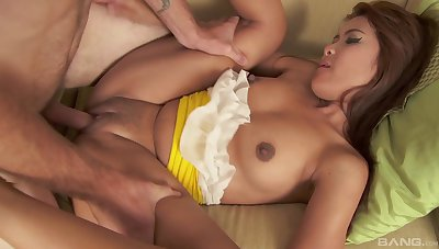 Tight Asian loads her pussy with a lot of cock