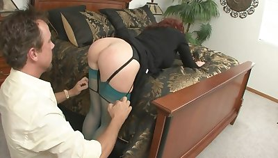 Redhead MILF sucks and rides chubby cock in amateur resolution
