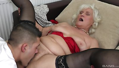 Blonde mature Judit Gali gets her pussy disobeyed and pounded by her beau