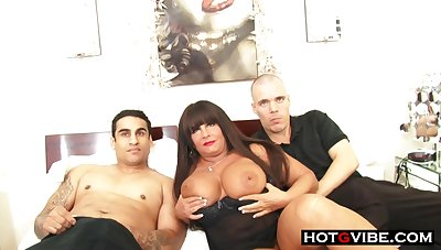 Smoking hot BBW full-grown milf sucks and fucks 2 young hot guys for a threesome