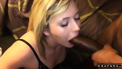 Sweet kirmess milf takes a huge black cock in her mouth