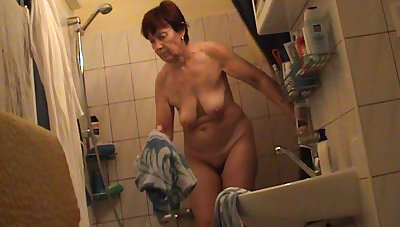 German granny nude in have a bowel movement