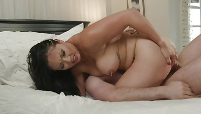 Busty Asian mom specialization entire step son's weasel words into her cunt