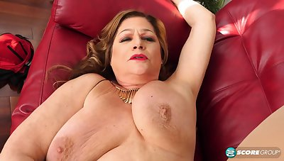 Busty mature GILF with reference to saggy tits Brenda Douglas - interracial hardcore with reference to cumshot
