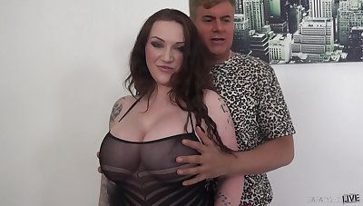 Voluptuous daughter with awesome boobies Harmony Reigns is hammered detach from rearwards