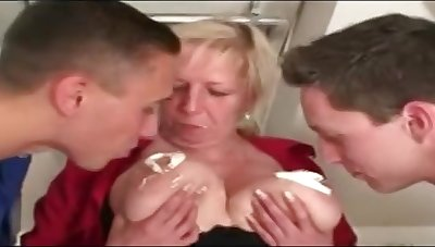 Hot Granny Eva Horackova Takes On 2 Young Cocks