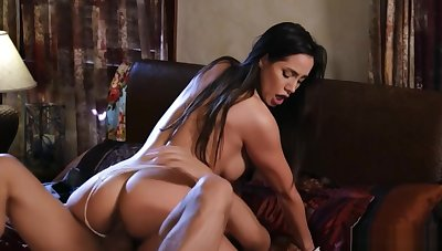 Husband bangs busty tanned wife in bed