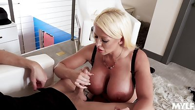 Fabulous bosomy MILF Gia Milana is warm of blowing strong cock dry