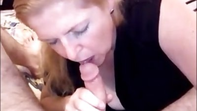 Mature wife sucking hubby dick and drink cum