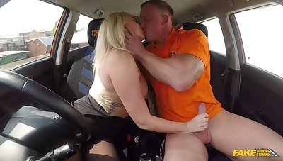 Female with huge tits, insane driving lesson porn