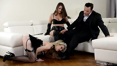 Strap-on fun during hardcore FFM threesome with Chessie Kay and Linda J.